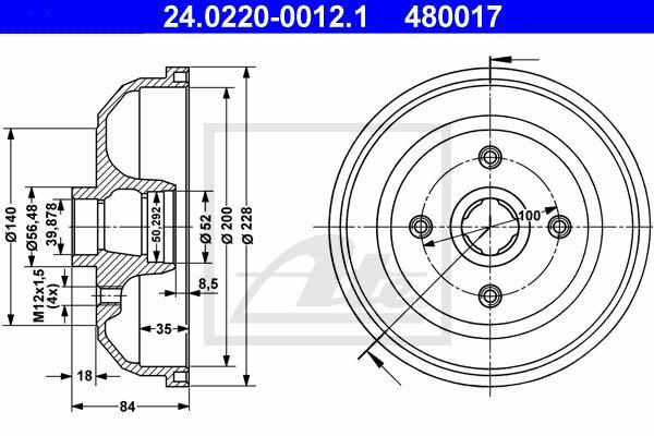 Bęben hamulcowy ATE (24.0220-0012.1)