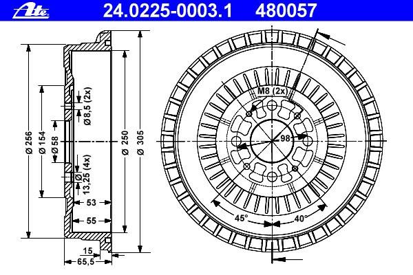 Bęben hamulcowy ATE (24.0225-0003.1)