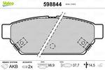 Klocki hamulcowe - komplet VALEO  598844 (Oś tylna)