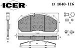 Klocki hamulcowe - komplet ICER  151040-116