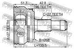 Przegub napędowy FEBEST  1610-212A96R (Oś tylna) (Od strony koła)-Foto 2