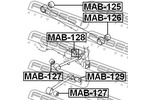 Tuleja wahacza FEBEST  MAB-128 (Oś tylna góra) (Z tyłu)