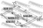 Tuleja wahacza FEBEST  NAB-005 (Oś tylna dół)